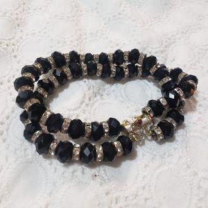 Black Silver Gemmed Charm Beaded Elastic Bracelet